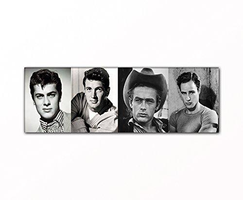 PB Art - Filmlegenden als Kunstdruck auf Leinwand und Holzkeilrahmen - Beste Qualität, handgefertigt in Deutschland! (30x90cm) Toni Curtis - Rock Hudson - James Dean - Marlon Brando