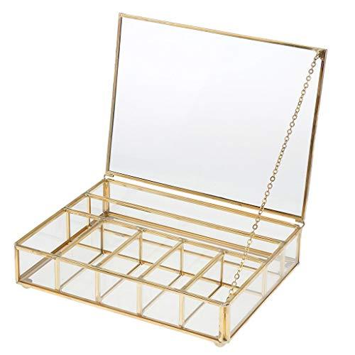 Tenlacum - Joyero de cristal geométrico de estilo moderno para plantas suculentas, decoración de mesa de cobre – cobre, 20 x 15 x 5cm
