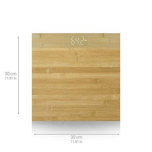 Medisana PS 440 Bilancia Personale Digitale in Bambù fino a 180 kg, Bilancia da Bagno con Spegnimento Automatico e Display e LED Invisibile