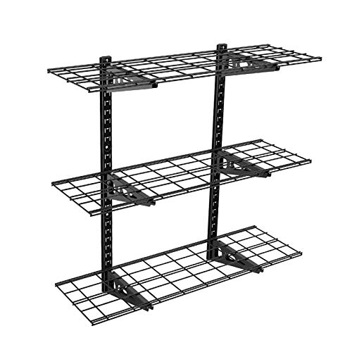 Fleximounts 3-Tier Storage Wall Shelves 1x3ft 12-inch-by-36-inch per shelf Height adjustable Floating Shelves (Black)