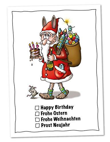 5er Weihnachtskarten-Set Universal-Weihnachtsmann - Set mit 5 lustigen Postkarten zu Weihnachten mit Weihnachtsmann und Wünschen für das ganze Jahr (Weihnachten, Geburtstag, Ostern, Neujahr)