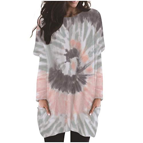 TOPSELD Women's Long Sweatshirt Pullovers Ladies Long Sleeve Plain Hooded Jumper Dresses Loose Tie Dyed Fashion Long Tops S-5XL(Gray,XL)