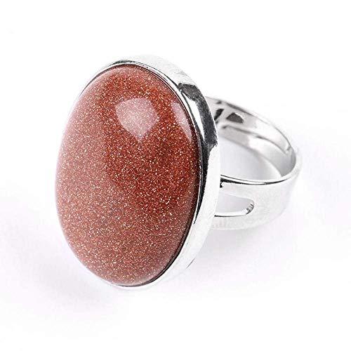 Anillo abierto Gflyme para mujer, elegante anillo ovalado de piedra arenisca marrón, joyería de plata ajustable unisex, regalos para bodas, graduación, cumpleaños, promesas de cumpleaños