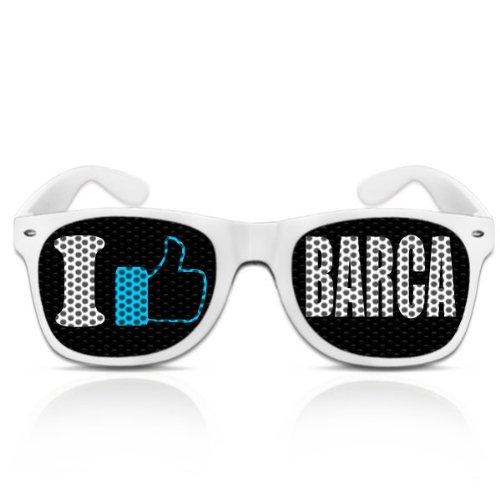 Partybrillen bedruckte Pilotenbrillen beklebte Sonnenbrillen mit Motiv Promotionbrillen Reiseandenken Spassbrille Atzenbrille mygafas - I like Barca (Weiß)