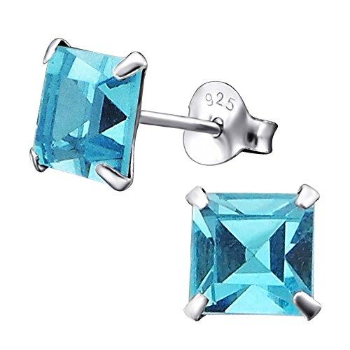 Laimons Pendientes para mujer Cuadrado Brillante Azul Claro Brillante Plata de ley 925