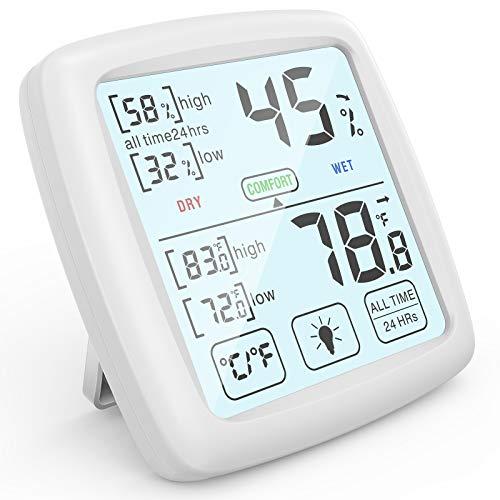 NIXIUKOL Termometro Ambiente Igrometro Digitale Interno Professionale Termoigrometro con Ampio Touch Screen, Indicatore di Comfort, Misuratore umidità per Casa Ufficio Stanza del Bambino