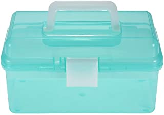Decdeal Clear Plastic Art Storage Box Painting Supplies Multipurpose Case Meidum Size with Handle for Artists Students Medine Tools Cosmetics Fishing Supplies