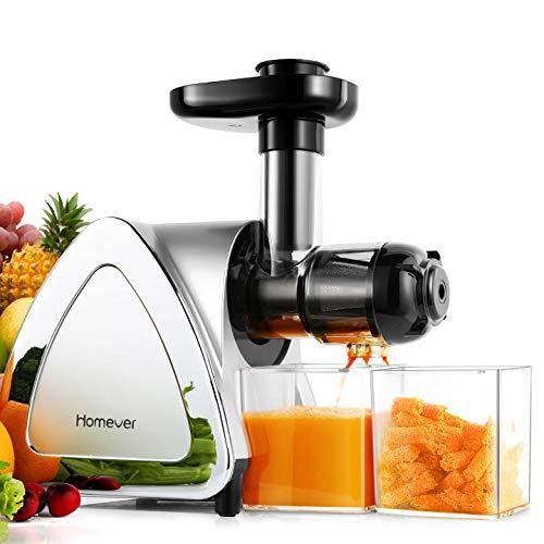 Homever Entsafter Slow Juicer BPA-frei Entsafter leistungsstarker Entsafter für Obst und Gemüse Ruhiger Motor & Umkehrfunktion & Saftkanne & Reinigungsbürste Leicht zu Reinigen