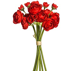 SilksAreForever 10″ Silk Mini Ranunculus Flower Stem Bundle -Red (Pack of 12)
