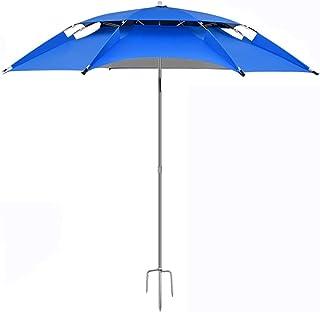 釣り傘、カーボンファイバー釣り傘、創造的な強化防風厚い傘、実用的な遠出野生の釣り釣り傘、抗UV太陽傘、傘の直径180 cm (Color : Blue)