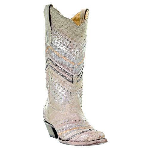 Corral Boot Company Womens LD EMBROIDERY STUDS 5 White white Size: 10.5