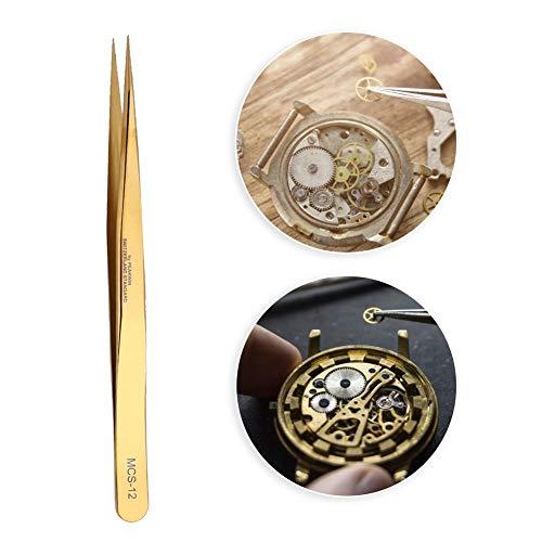 Salmue Pinzas de precisión para Relojes y Joyas, Pinzas antimagnéticas Pinzas de Reloj de Acero Inoxidable de Alta dureza + Pinzas de reparación de Relojes para Hombres y Mujeres