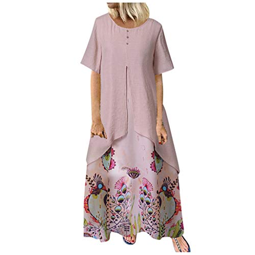 MRULIC Damen Kleid Kurzarm Rundhals Sommerkleider BöHmen Drucken Mollige Lose Maxikleid Vintage Casual Strandkleider Party Kleider Abendkleid(B2-Rosa,4XL)
