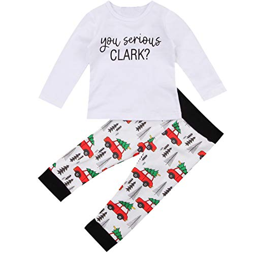 Toddler Boy Kids Christmas Vacation Outfit You Serious Clark Romper Christmas Truck Pants Coming Home Outfit (White, 1 Years)