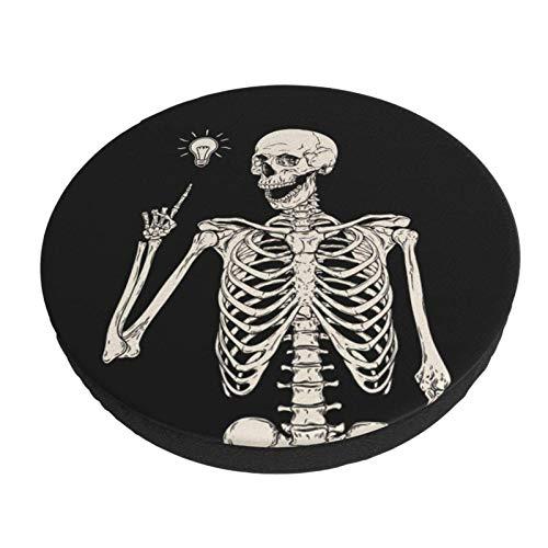 Rock and Roll Skeleton Skull Boho Hippie Bar Taburete Fundas Redondo Lavable Silla Asiento Funda