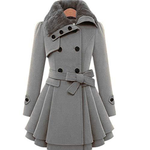 YUNXIANG Weibliche Vintage Wool Coat Damen Pelzkragen Jacke Winter Outdoor-Daunenjacke Plus Size S-5XL