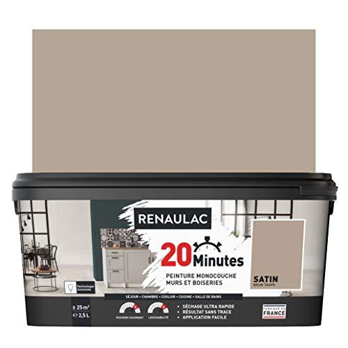 RENAULAC Peinture intérieur couleur monocouche 20 Minutes multi-supports - Brun taupe Satin - 2,5L - 25m²