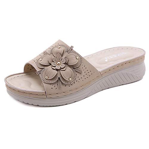 Sneldrogende pantoffels, Casual sleehak sandalen met zomerbloemen, damesslippers-apricot_37, Slip-on muiltjes met hak
