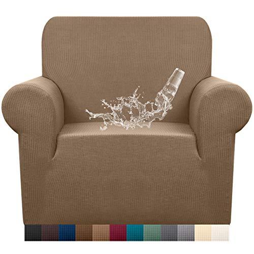 Granbest Funda de sofá impermeable de 1 pieza Jacquard funda de sillón extensible para salón (1 plaza, camel)