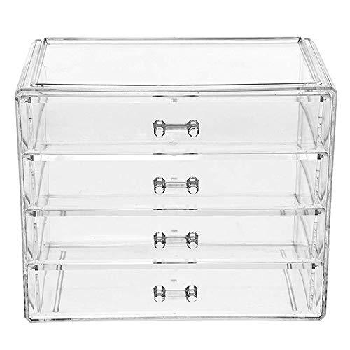 QCCOKNN 1 caja de almacenamiento para maquillaje de gran tamaño, de acrílico transparente, para joyas, de cuatro capas contanier