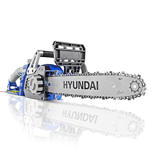 Hyundai Powerful 1600 Watt 230V Electric Chainsaw, 3 Year Warranty, 14-Inch Guide Bar and Chain, 3m Power Cable, Electric Saw to Cut Wood, Mini Chainsaw, Automatic Chain Lubrication, Power Saw, Blue