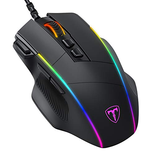 Gaming Mouse, PICTEK Programmable Mouse with Side Buttons, Adjustable RGB...