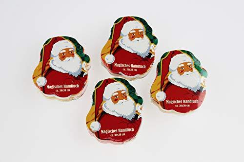 KAMACA 4 er Set Magische Handtücher - ca. 30 x 30 cm mit wundervollen Motiven aus 100% Baumwolle (4 er Set Santa)