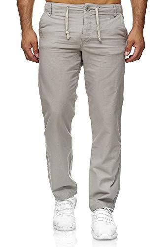 Reslad Leinenhose Männer Chino Herren-Hose lockere Sommer Stoffhose Freizeithose aus bequemer Baumwolle lang RS-3000 (M, Hellgrau)