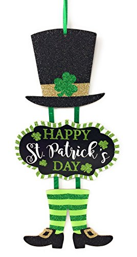 Glittery 'Happy St. Patrick's Day' Themed Hanging Welcome Sign with Leprechaun Top Hat and Feet