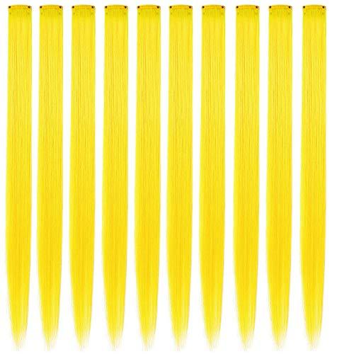 MQY 컬러 헤어 확장 헤어피스 컬러 파티에서 멀티 컬러 클립 DIY 헤어 액세서리 확장 20인치 긴 머리카락 9PC(노란색)