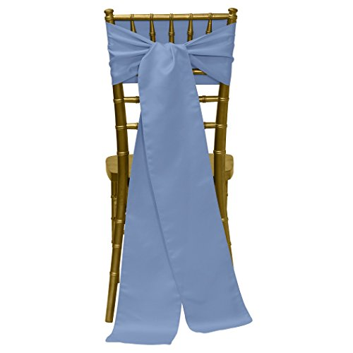 Ultimate Textile -50 Pack- Bridal Satin 8 x 100-Inch Chair Tie Sash, Periwinkle Blue
