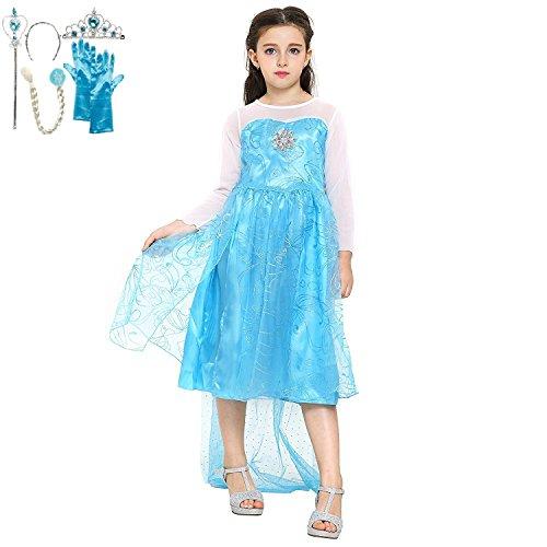 Katara 1099 Disfraz de Elsa Frozen con Set de Princesa - Niñas 8-9 Años, Azul