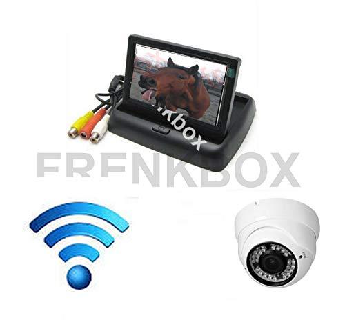 Frenkbox Kit sorveglianza Trailer Trasporto Cavalli Monitor richiudibile 4,3' + Telecamera Wireless Visione Notturna Impermeabile