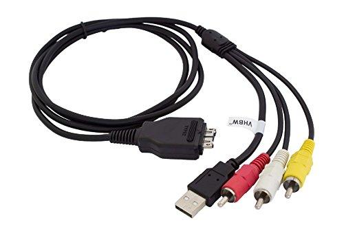 vhbw Audio Video AV Composite Kabel mit USB Anschluss passend für Sony Cybershot DSC-H20, DSC-H55, DSC-HX1, DSC-HX5 Kamera, Digitalkamera