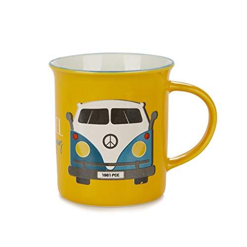 Balvi Mug Travel Color Amarillo Taza Original de Colores Vintage Diseño Furgoneta Hippie 60s Cerámica 9,2x11,7x8,5 cm