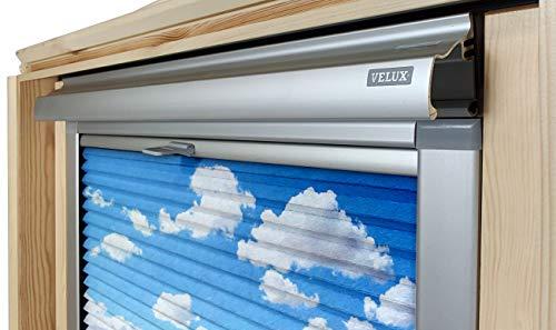 Home-Vision® Dachfenster Premium Doppelplissee Wabenplissee ohne Bohren Velux-kompatibel (Weiß-Himmel für C04 - Silber) Zweifarbig Blickdicht Sonnenschutz, Alle Montage-Teile inklusive