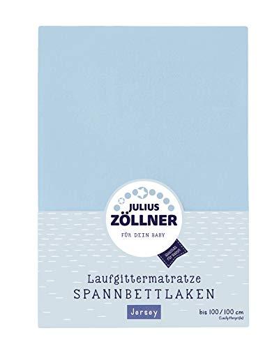 Julius Zöllner 8390347350 Jersey Spanntuch, passend für Laufgittermatratzen 68x90 bis 100x100 cm, Hellblau