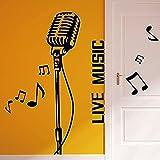 Etiqueta de la pared PVC Extraíble Etiqueta de la pared Instrumento musical Micrófono Aula Música en vivo Notas Dormitorio Habitación de los niños Vinilo Decoración familiar 90x95cm