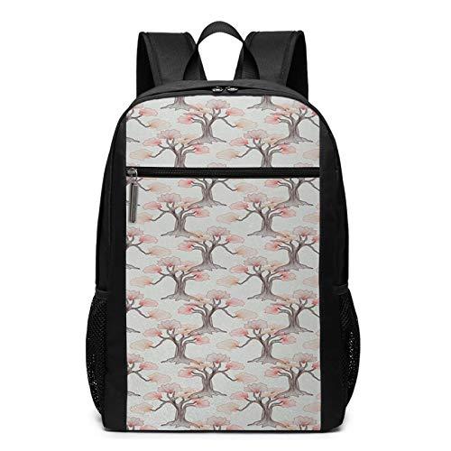 OMNVEQ Mochila Escolares Tema romántico de la Primavera de los árboles Bonsai, Mochila Tipo Casual para Niñas Niños Hombre Mujer Mochila para Ordenador Portátil Viaje