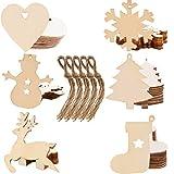 Liuer 60PCS Colgantes de Madera para Navidad,Decoración de Navidad,Rodajas de Madera Discos de Madera Rebanada Naturales Perforado Laca de Nieve,muñeco de Nieve,árbol de Navidad,calcetín de Navidad