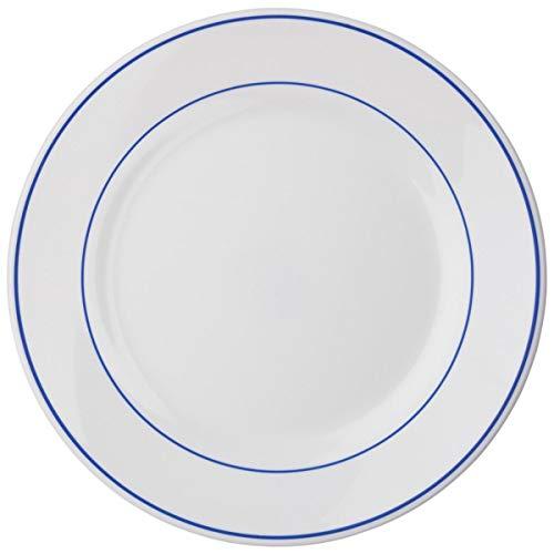 Teller flach Filet Delft, 25.2 cm (Ø), weiß/blau, rund, 6 Stück/Packung