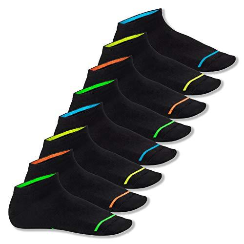 Footstar Herren und Damen Sneaker Socken (8 Paar), Kurze Sportsocken im Neon Erscheinungsbild - Neon Glow - Schwarz 47-50