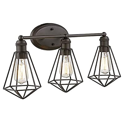 Zeyu 3-Light Vanity Wall Sconce, Industrial Vanity Light 26 Inch Wall Lamp for Kitchen Bathroom, Metal Wire Cage in Oil Rubbed Bronze Finish, ZY04-3W ORB