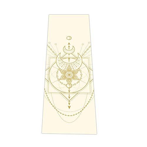 Love Generation Yoga Esterilla con impresión de 6 mm extra acolchada   PVC resistente y fácil de limpiar   muchas impresiones   183 x 61 x 6 mm   para yoga, pilates y fitness (blanco crema)