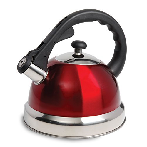 Mr. Coffee 108074.01 Claredale Stainless Steel Whistling Tea Kettle, 2.2-Quart, Red
