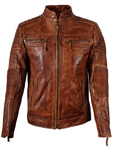 Chaqueta de cuero marrón para hombre de la motocicleta Cafe Racer desgastado chaqueta de cuero real