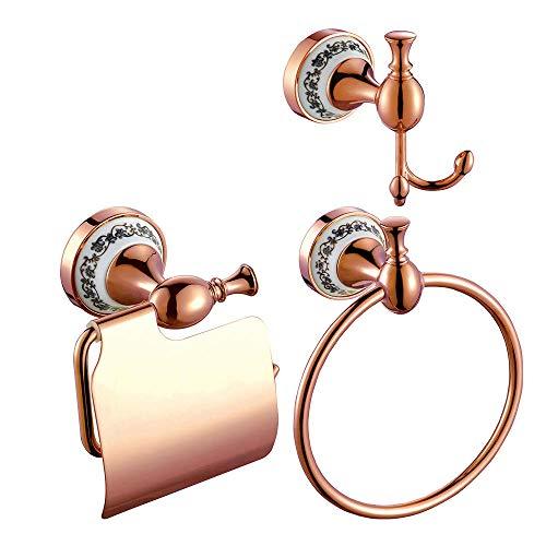 Mdsgfc Soporte de latón para baño con gancho para toallero, estante de papel, soporte para cepillo de dientes, color oro rosa