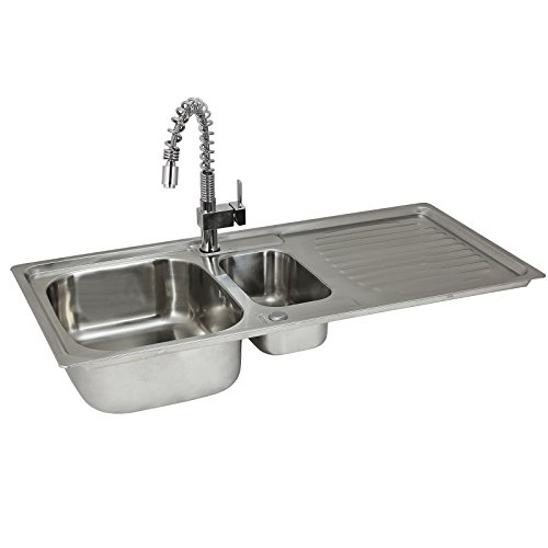 Kitchen Sink 1.5 Double Bowl Reversible Stainless Steel Kitchen Sinks Inset with Free Tap & Waste Kit