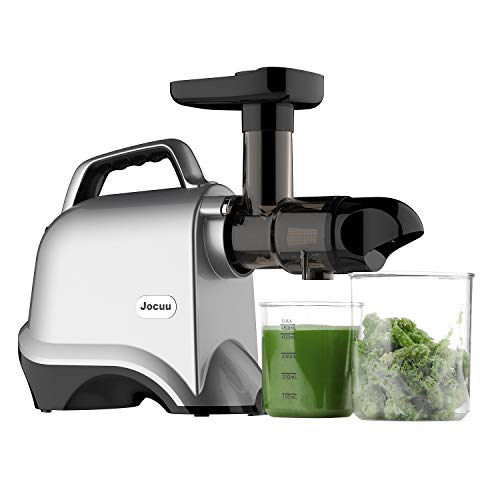 Juicer Machines, Jocuu Slow Masticating Juicer Extractor, Cold Press Juicer Easy to Clean, Quiet Motor, Reverse Function, with Brush and Recipes, for Fruits and Vegtables, Silver