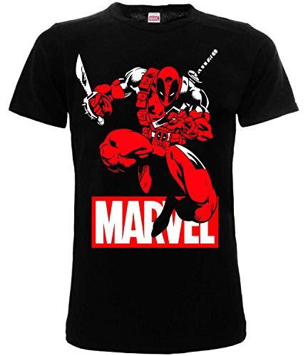 Camiseta de Deadpool original de Marvel, oficial, camiseta para adulto, niño, color negro Negro XXS